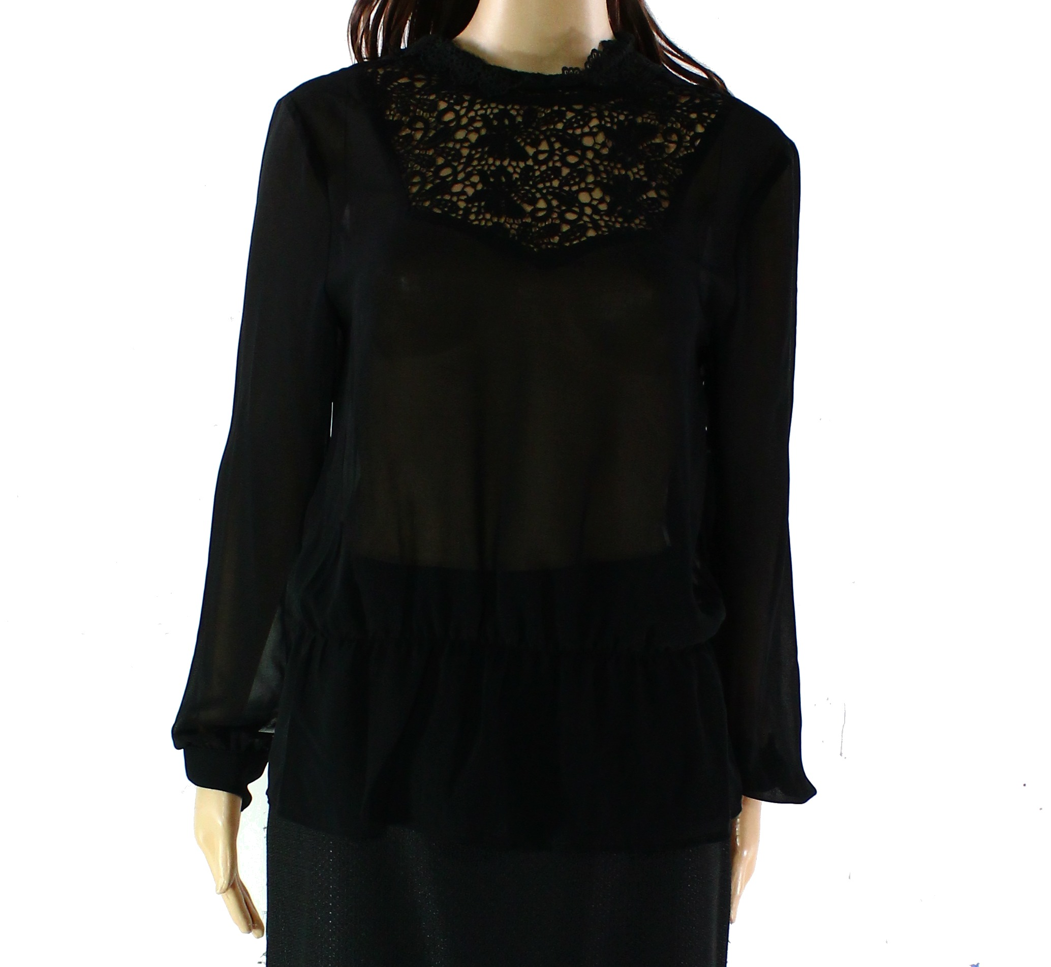 Hinge NEW Black Womens Size Small S Floral Crochet Detail Blouse Top