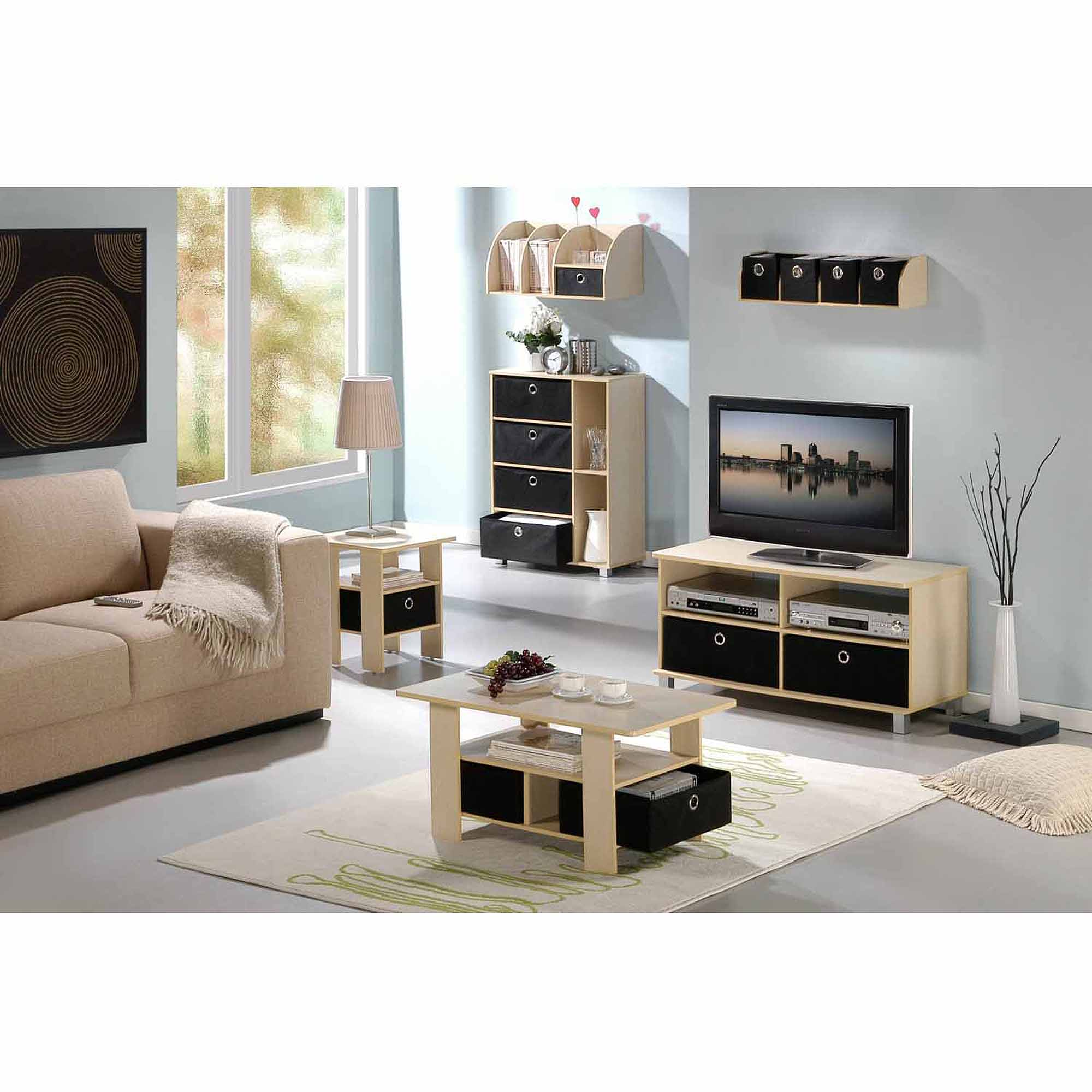 Petite Coffee Table with Foldable Bin Drawer, Multiple Colors