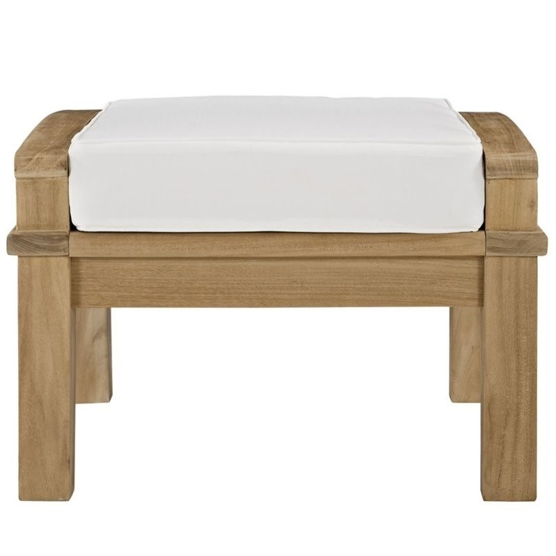 Hawthorne Collection Outdoor Teak Ottoman in Natural and White - image 3 de 4