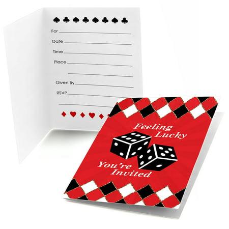 Las Vegas - Fill In Casino Party Invitations (8 - Las Vegas Themed Birthday Invitations