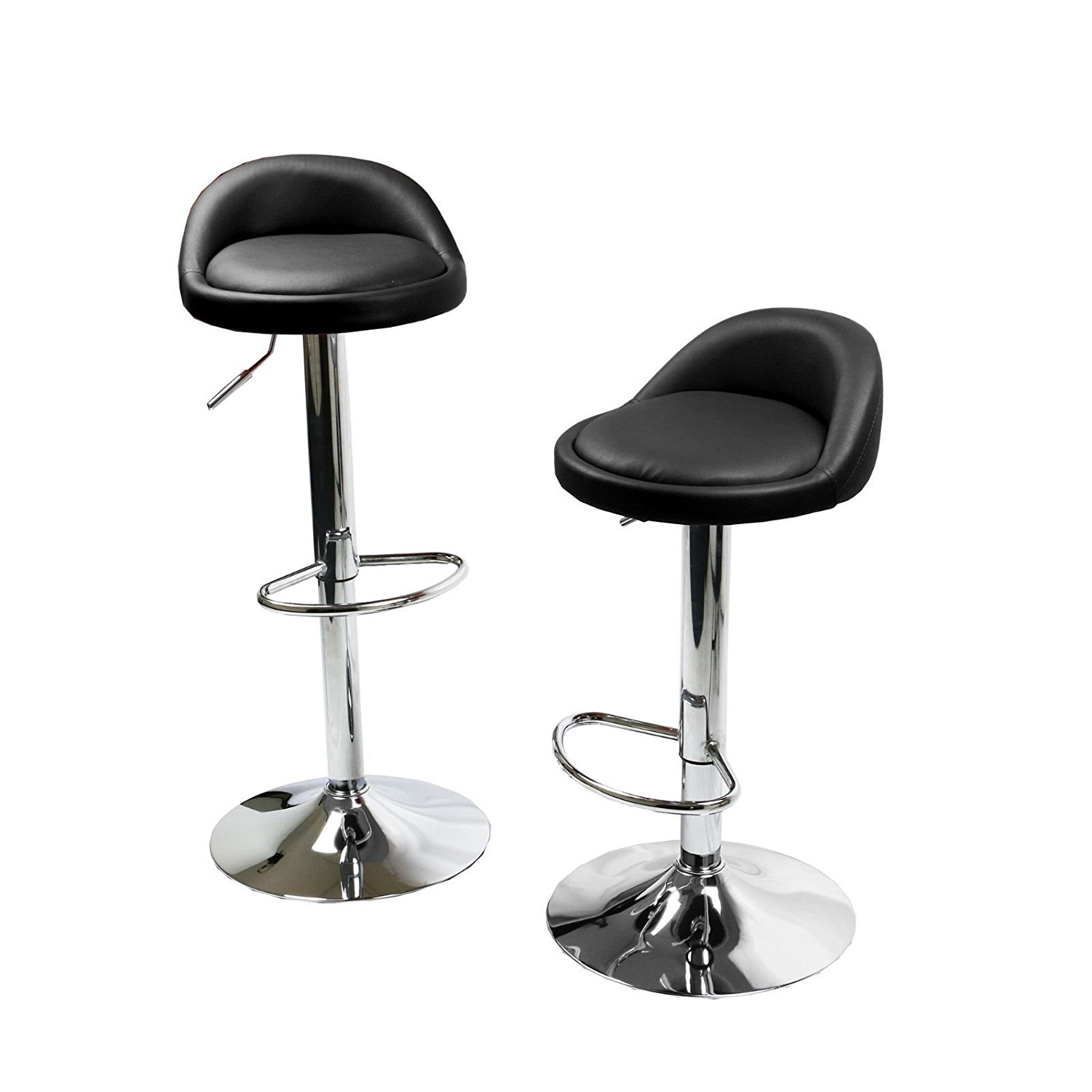 Round Bar Stools Swivel Kitchen Dinning Counter Adjustable Height Barstool Chair - Set of 2 Black