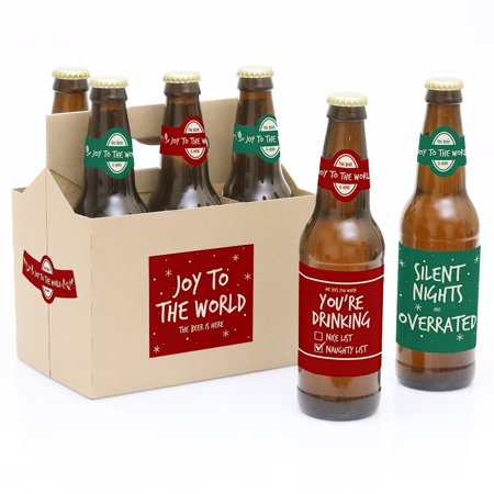 Red and Green - Holiday Party Decorations for Women and Men - 6 Beer Bottle Label Stickers and 1 Carrier Looking for something unique and original for a Holiday party Our Holiday Party Beer Bottle Labels and Carrier are the perfect gift for the adult or bring to a party. This 6-pack set comes with a craft paper carrier and with beer bottle labels that are printed on sticker paper that is waterproof. Apply labels to room temperature bottles. Apply beer bottle labels either after removing original label for best results or put over existing labels if you choose. Chill after you are done applying labels. For the two larger labels that are left over apply to the front and back of paper carrier. Use the two smaller ones to put on each end of the paper carrier to give you the completed look.The main sticker label is 3.5  x 3  and the collar/neck sticker label is 3.5  long x 1.5  wide at the center.Apply labels to room temperature bottles. For best results apply the labels to the bottle after removing the original label. They will also work by placing the labels over the existing label. Chill after you are done applying labels. (Soda/Beer in image is NOT included).