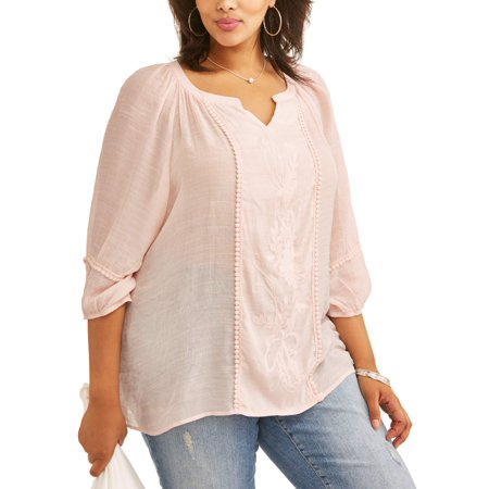 Women's Plus Size Peasant Embroidered Blouse](Renaissance Peasant Blouse)