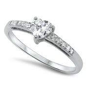 Women's Heart Solitaire Clear CZ Promise Ring .925 Sterling Silver Size 10
