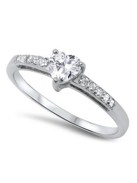 14e4e3cd2 Product Image Women's Heart Solitaire Clear CZ Promise Ring .925 Sterling  Silver Size 10