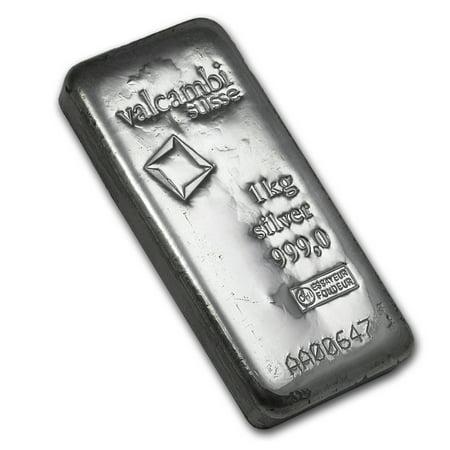 1 kilo Silver Bar - Valcambi (Cast, w/Assay)