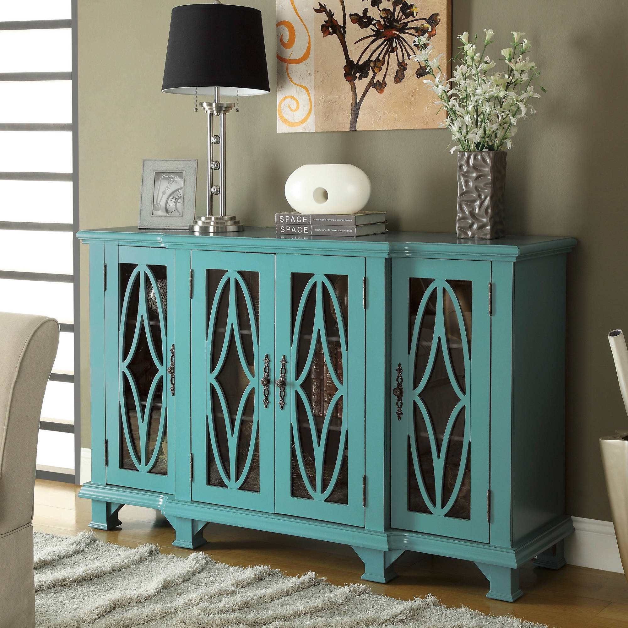 Coaster Teal Blue Accent Cabinet