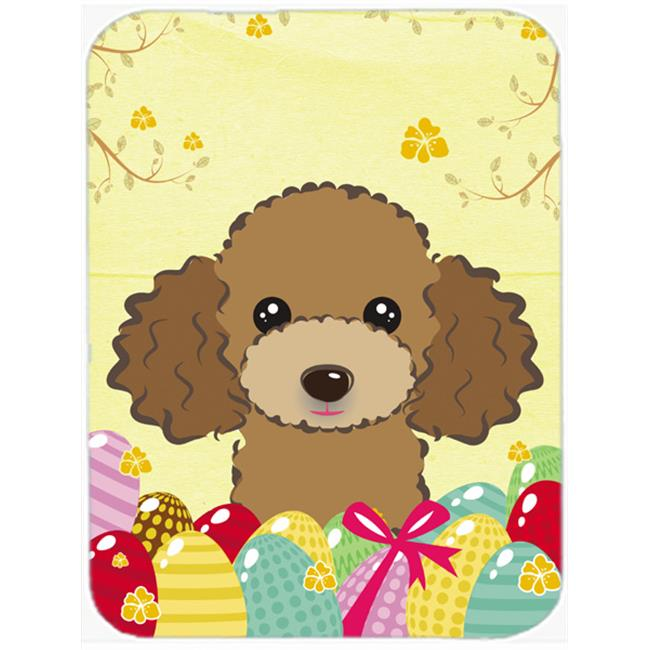 Chocolate Brown Poodle Easter Egg Hunt Mouse Pad, Hot Pad or Trivet