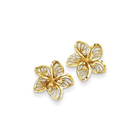 14k Yellow Gold Diamond Cut Filigree Plumeria Earrings