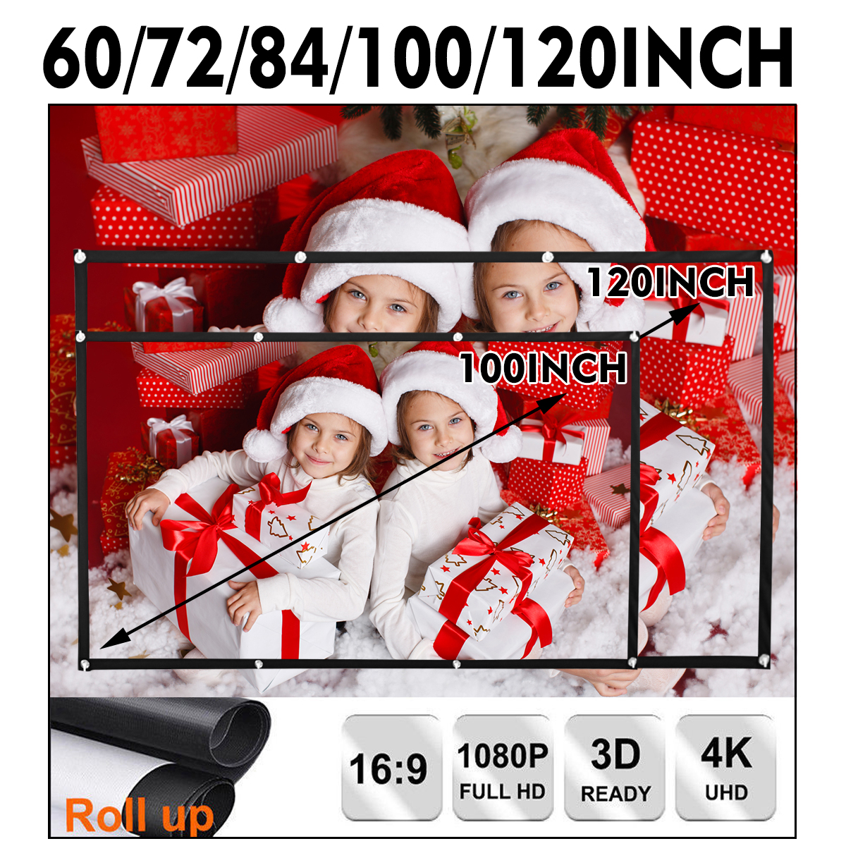 HD 16:9 4K Portable Foldable Movie Manual Projector Screen Projection Home Xmas Party Film Theater Movie TV Christmas Party Cinema FOR WORLD CUP + Office Meeting