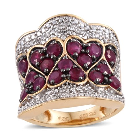 925 Sterling Silver Yellow Gold Plated Round Ruby Zircon Anniversary Ring for Women Cttw 2.4