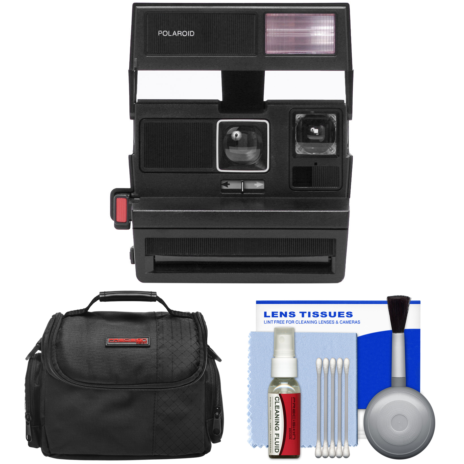 Impossible Polaroid 600 Square Instant Film Camera (Black) Refurbished by Impossible with Case + Kit by Impossible