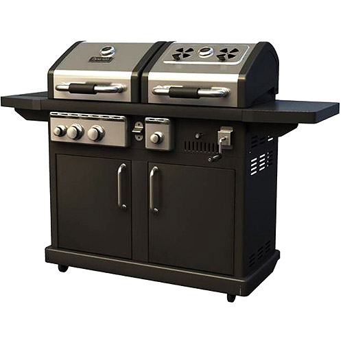 Dyna Glo 30,000 BTU 2 Burner Dual Fuel Grill with Side Burner, Black