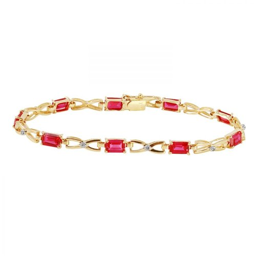 Ladies 0.04 Carat Diamond And Created Ruby 14K Yellow Gold Bracelet by Generic