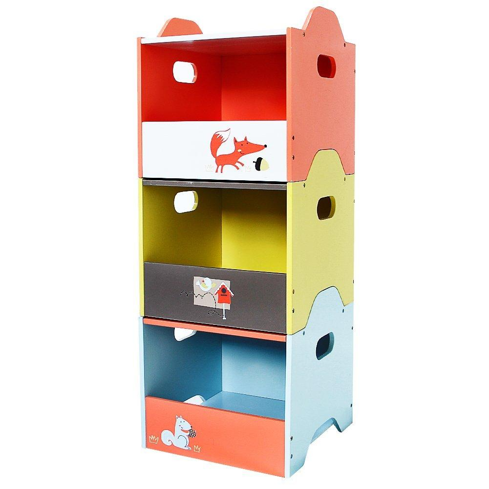 Labebe Wooden Toy Storage Bin, 3 Color Combined Stackable Fox Toy Bin, Open