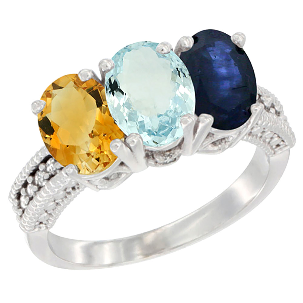 10K White Gold Natural Citrine, Aquamarine & Blue Sapphire Ring 3-Stone Oval 7x5 mm Diamond Accent, sizes 5 10 by WorldJewels