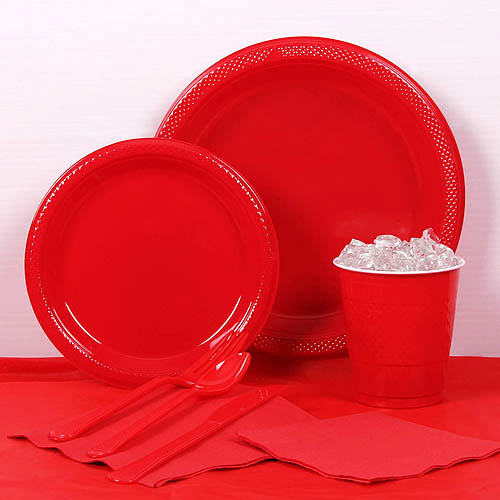 Red Plastic Tableware Party Pack for 20