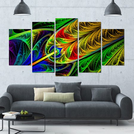 - DESIGN ART Designart 'Stained Glass with Glowing Designs' Multipanel Canvas Art Print - 60x32 5 Panels