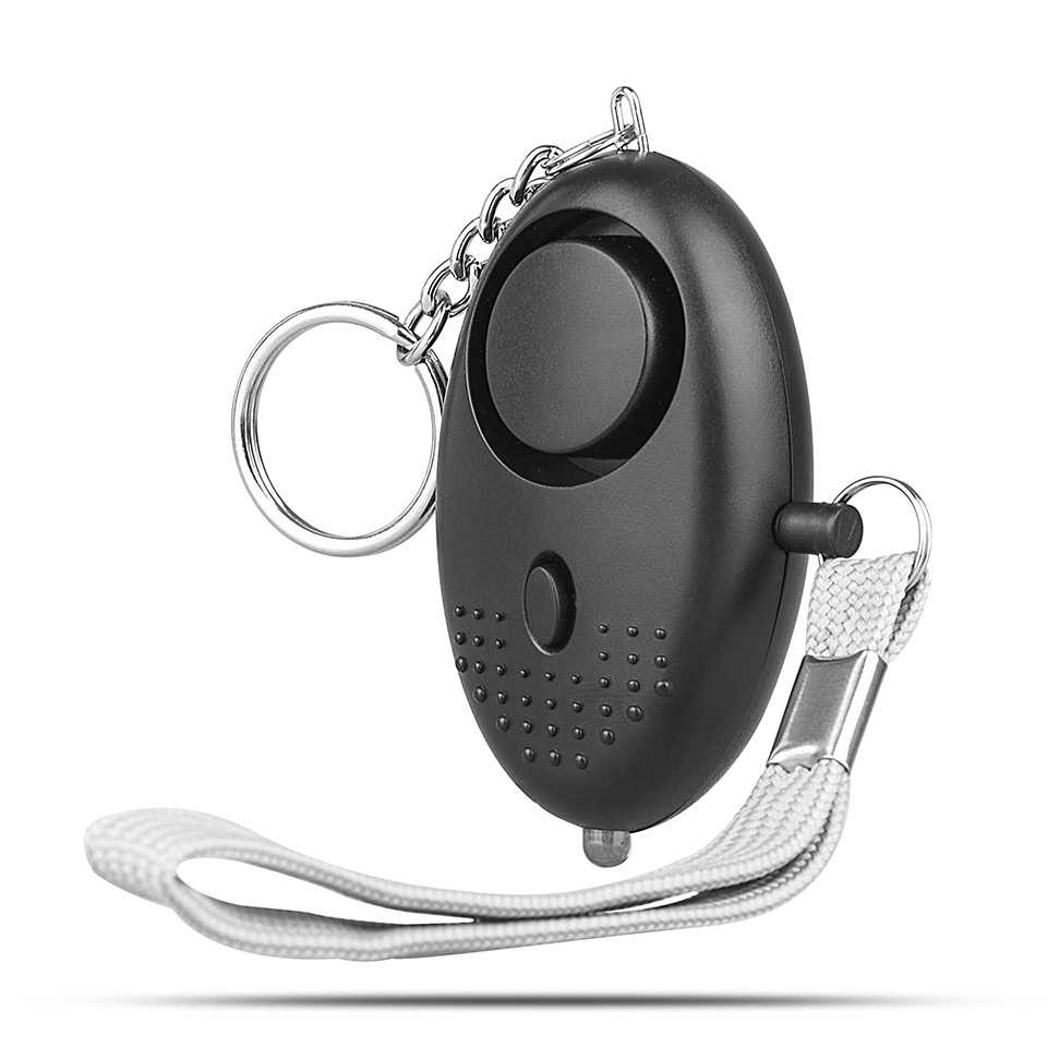 TSV Personal Alarm 130dB Emergency Self Defense Keychain Siren Song Safe Sound Alarm with LED Light for Women, Kids, Elderly and Night Workers (Black)