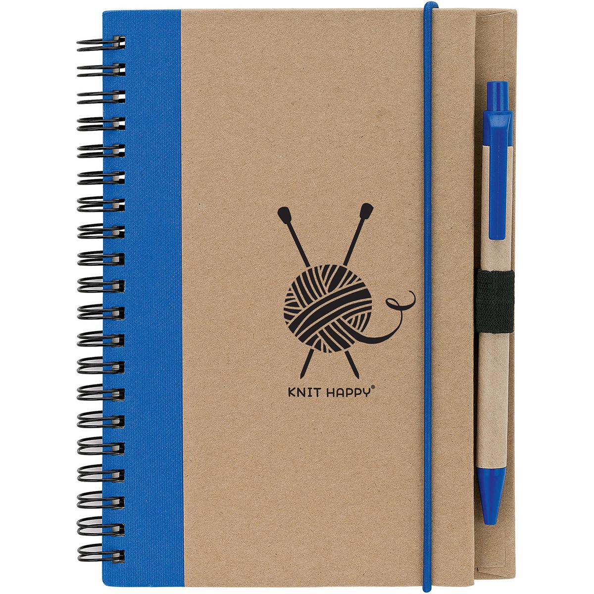 Knit Happy Eco Journal W/Pen-Blue - image 1 de 1