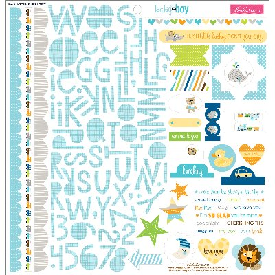 "Cute Baby Boy Stickers 12""X12""-Treasures & Text"