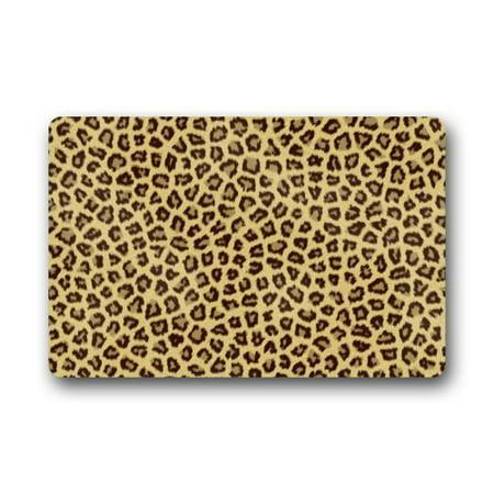 WinHome Golden Leopard Animal Doormat Floor Mats Rugs Outdoors/Indoor Doormat Size 23.6x15.7 inches Gold Door Mat