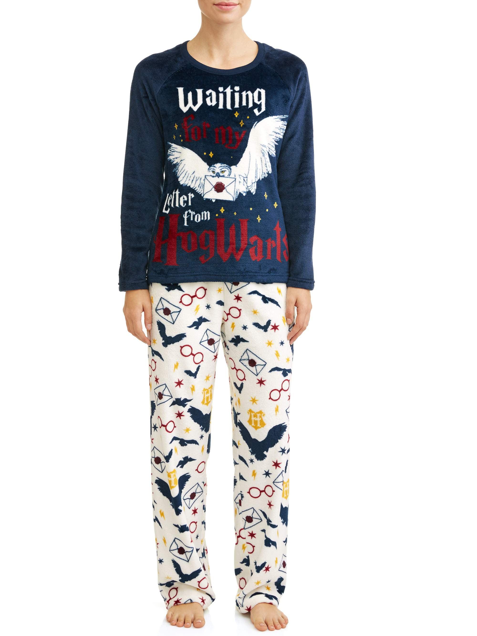 Harry Potter Pyjamas Girls Hedwig Long Sleeve T-Shirt /& Fleece Trousers PJ Set