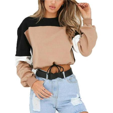 Jumper Outfit (Women Ladies Hoodie Sweatshirt Jumper Sweater Crop Top Coat Sports Pullover)