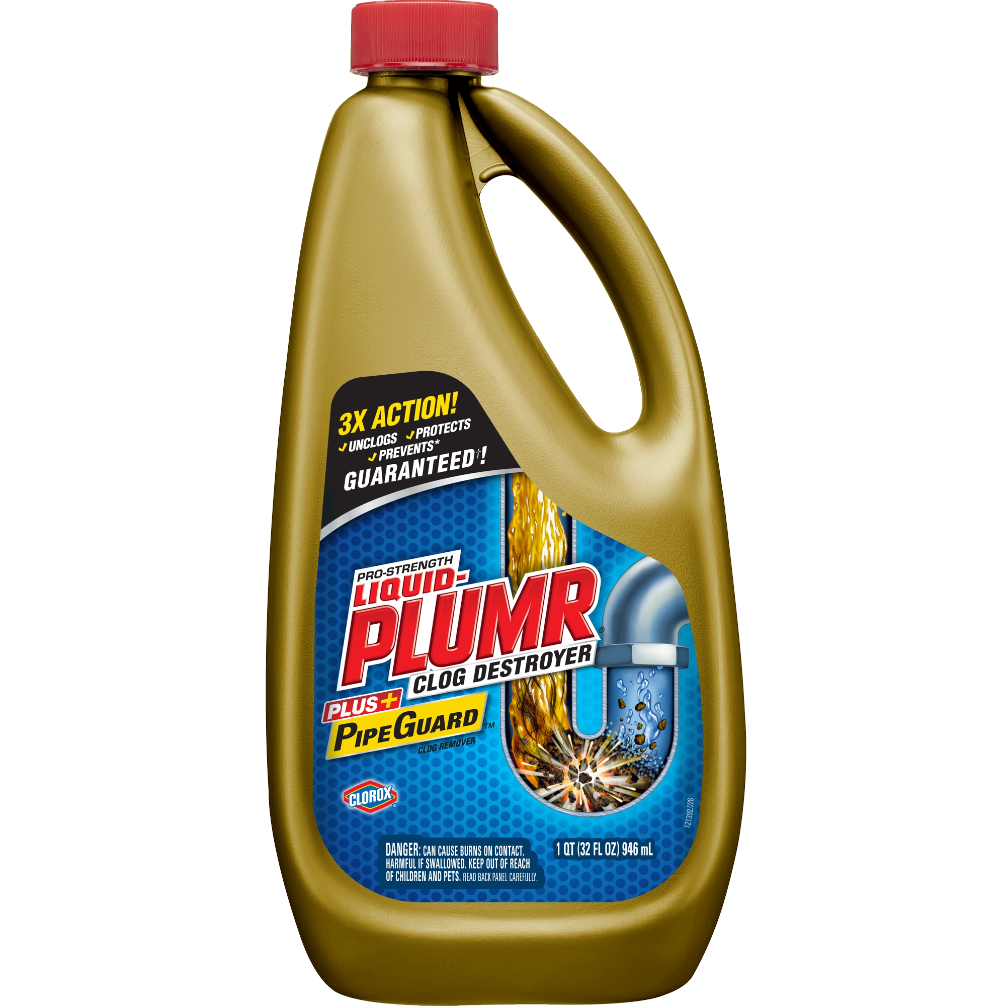 Liquid-Plumr Pro-Strength Full Clog Destroyer Plus PipeGuard, 32 oz