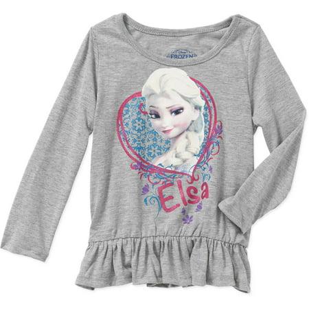 Disney Frozen Elsa Toddler Girl Long Sleeve Peplum Top