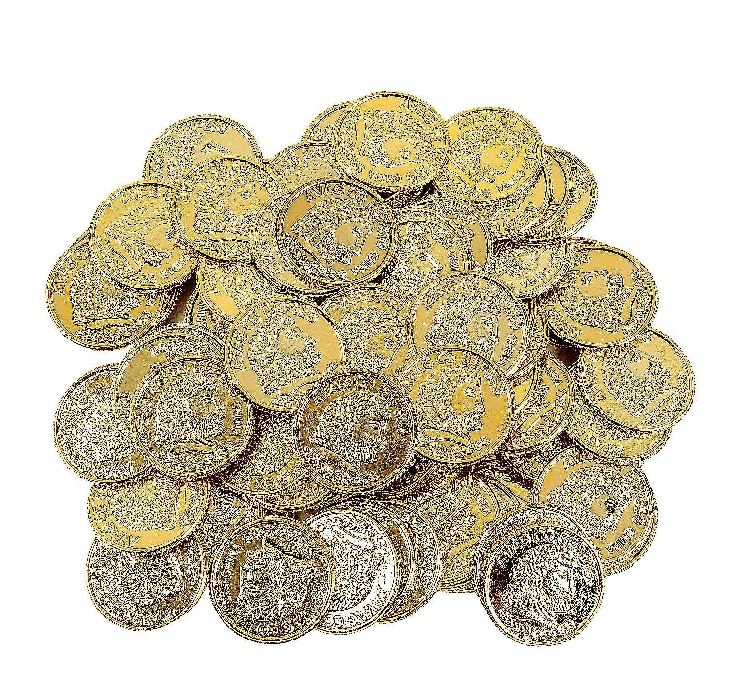 Fun Express Pirate Party Favor Gold Play Coins, 144Pieces, Plastic By WMU