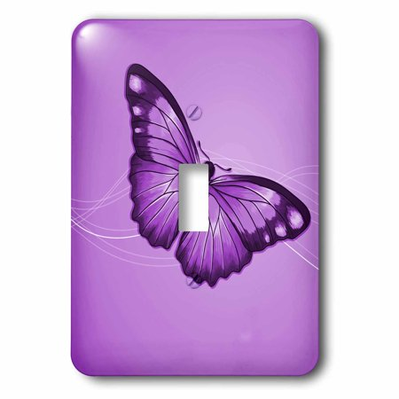 3dRose One Pretty Purple Butterfly On A Slightly Swirled Background, Double Toggle Switch