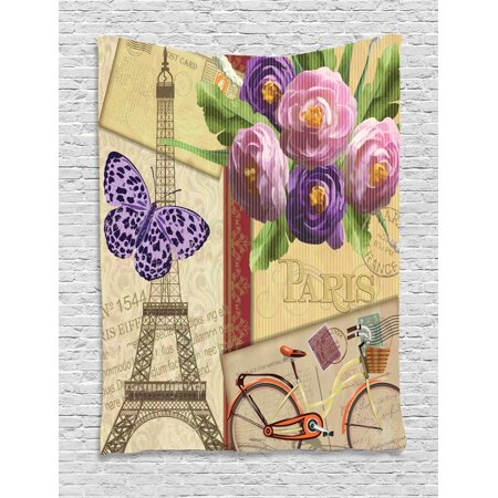 Paris Tapestry, French Decor Landmark Eiffel Tower Postcards with Abstract Striped Backdrop Art Print, Wall Hanging for Bedroom Living Room Dorm Decor, 60W X 80L Inches, Multicolor, by Ambesonne