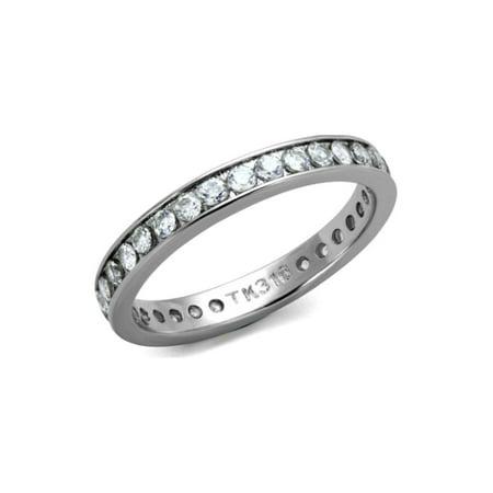 2.8 mm Wide Anniversary Eternity Band Brilliant Designer Ring Stainless Steel