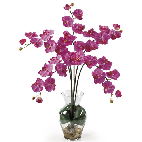 Phalaenopsis Liquid Illusion Silk Flower Arrangement, Dark Pink