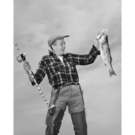 Mid Adult Man Holding Dead Fish And Fishing Pole Canvas Art     24 X 36