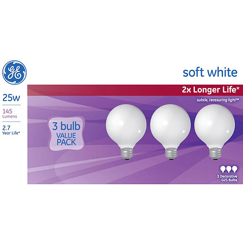 GE 25 watt Soft White G25 Incandescent Globe, 3 Pack