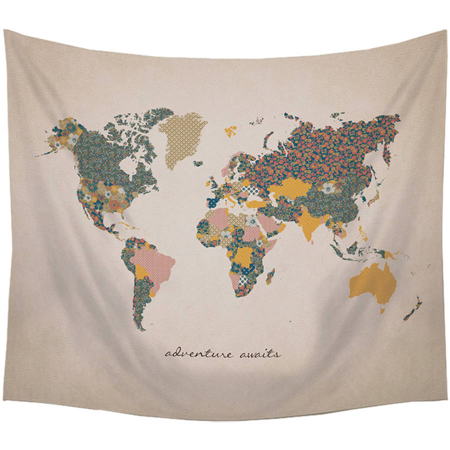 "Stratton Home ""Adventure Await"" Map Wall Tapestry"