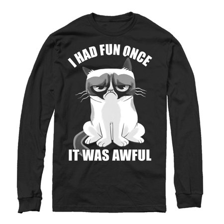 Grumpy Cat Men's Fun Cartoon Long Sleeve T-Shirt - Adult Cartoon Cat
