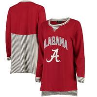Alabama Crimson Tide Women's Striped Panel Oversized Long Sleeve Tri-Blend Tunic Shirt - Crimson