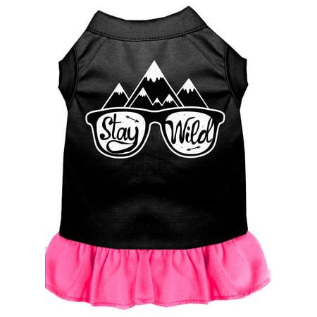 Stay Wild Screen Print Dog Dress Black With Bright Pink Xs (8)