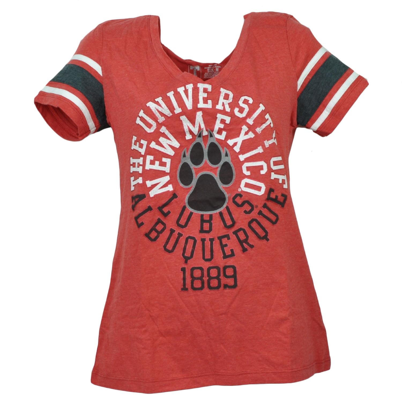 NCAA New Mexico Lobos Striped Short Sleeve Womens V Neck Tshirt Tee Red XSmall by T University
