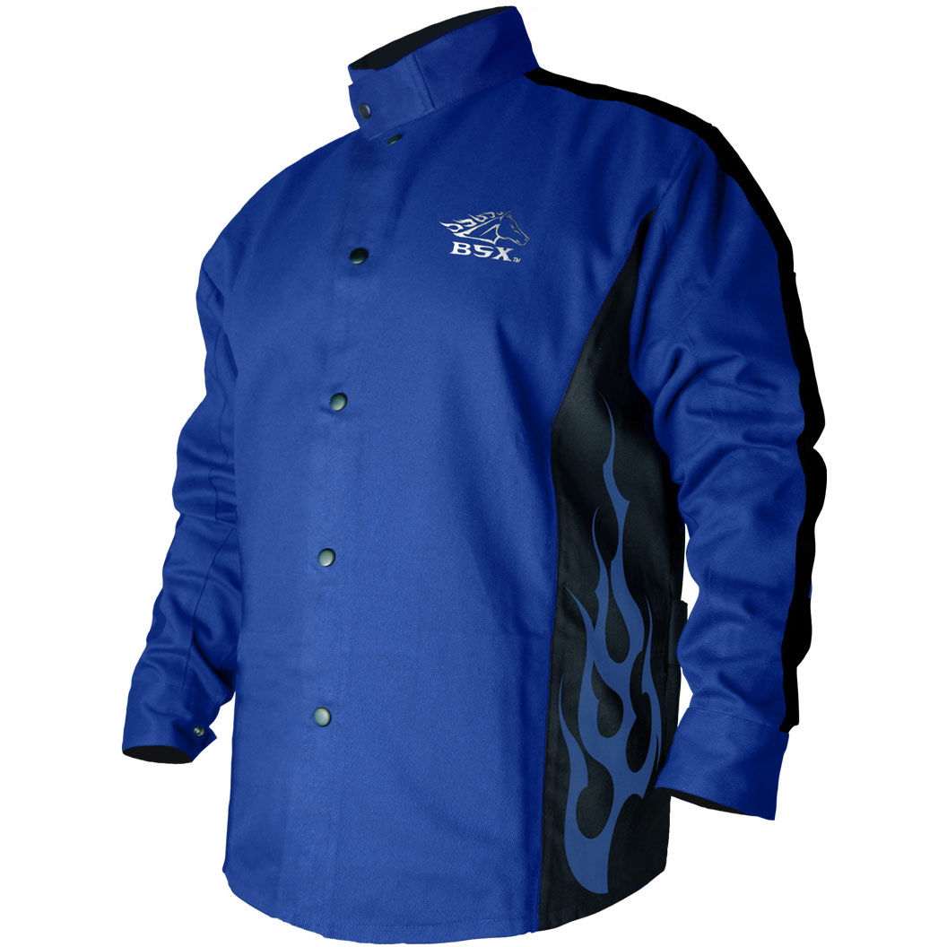 Black Stallion BSX BXRB9C 9oz. Cotton Welding Jacket Blue/Black w/flames, Large