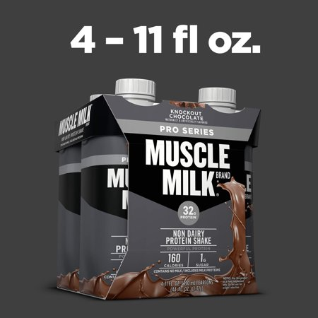 (3 pack) Muscle Milk Pro Series Non-Dairy Protein Shake, Knockout Chocolate, 32g Protein, 11 fl. oz., 4 Ct