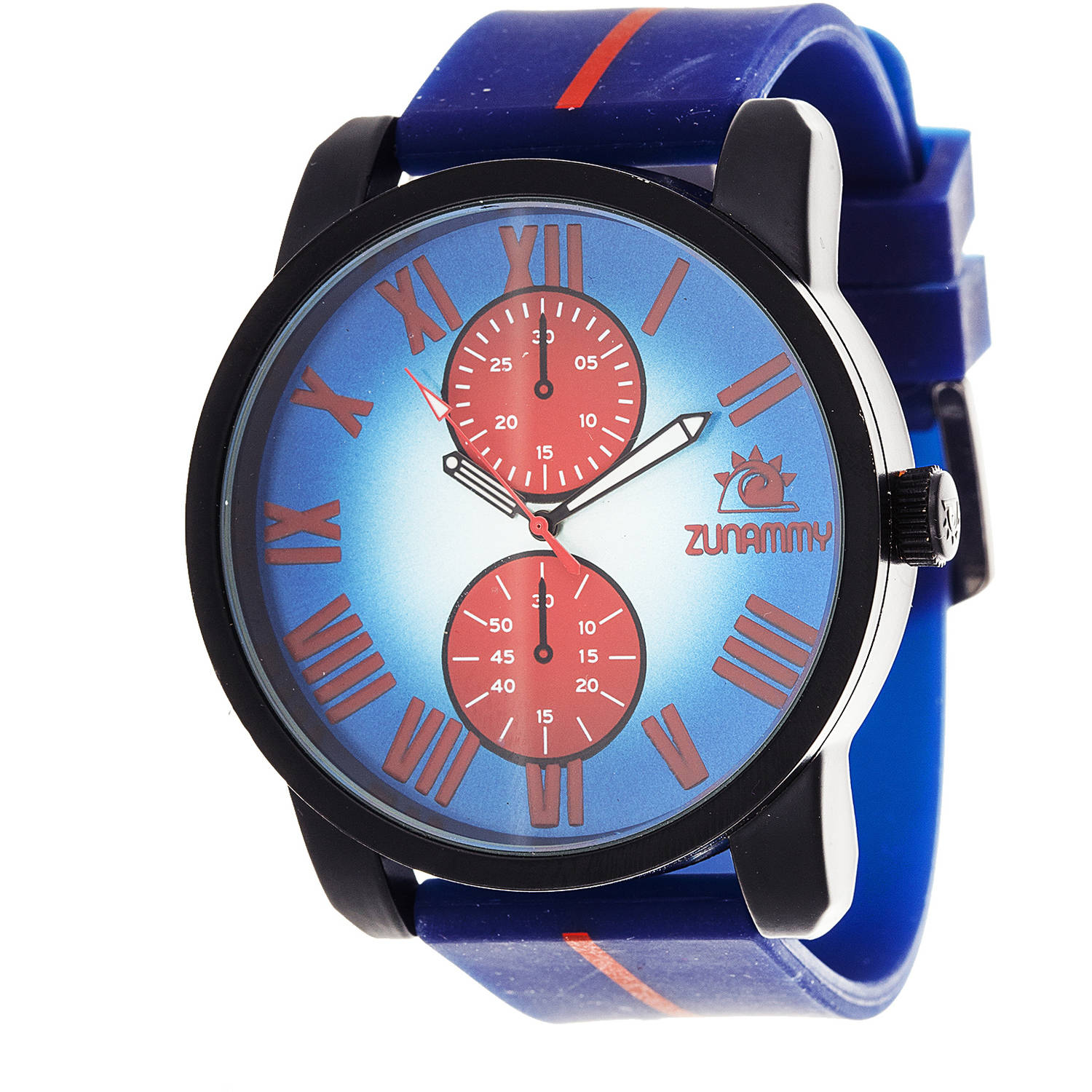 Zunammy Matte Men's Sport and Fashion Watch, Blue Rubber Strap