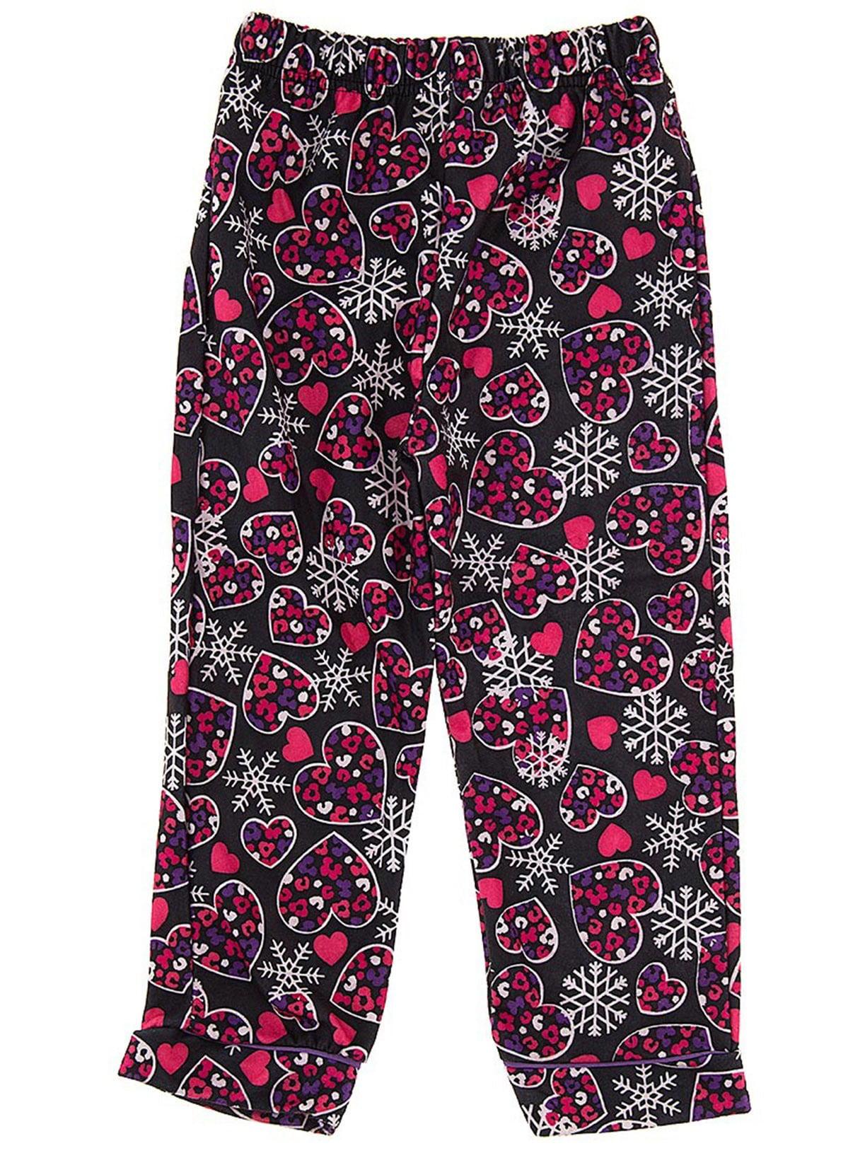 Black Snowflake Pajama Pants for Girls