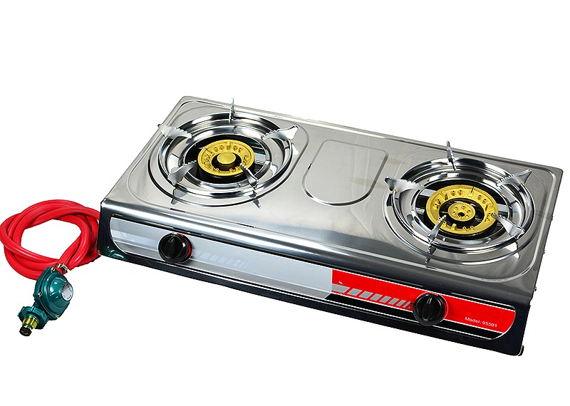 Double Burner Stove Brass Burner LPG, with Regulator by STKUSA