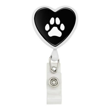 Paw Print Dog Cat White on Black Heart Lanyard Retractable Reel Badge ID Card Holder - - Id Card Holder Lanyard