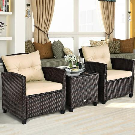 Costway 3PCS Patio Rattan Furniture Set Cushioned Conversation Set Sofa Coffee Table - image 4 of 9
