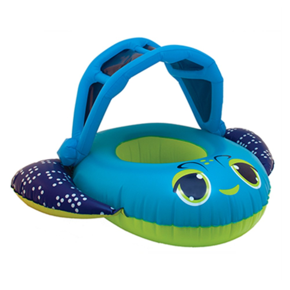 Swim Ways Inflatable Blue Fish Sun Canopy Baby Boat Infant Pool Float  sc 1 st  Walmart : inflatable pool with canopy - memphite.com